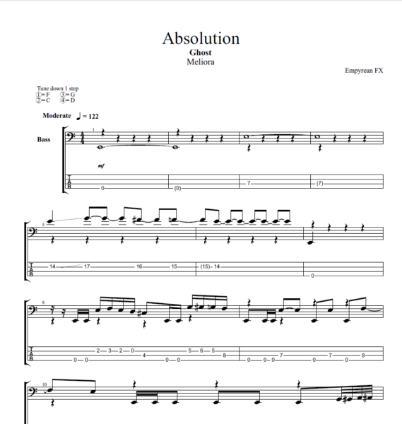 Ghost BC PDF Tabs Sheet Music Example